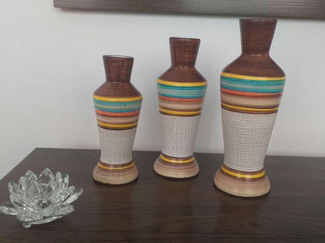 Trio de vasos ( garrafas) em cerâmica  - Foto 3