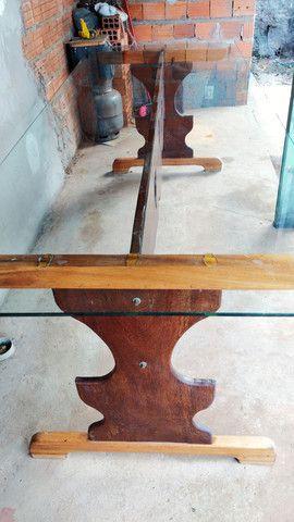 Mesa de madeira e vidro - Foto 4