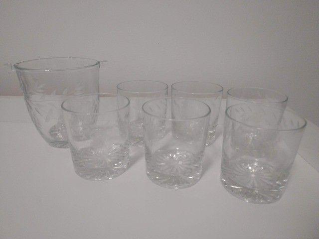 Copos Whisky 6 unidades + 1 Balde de Gelo