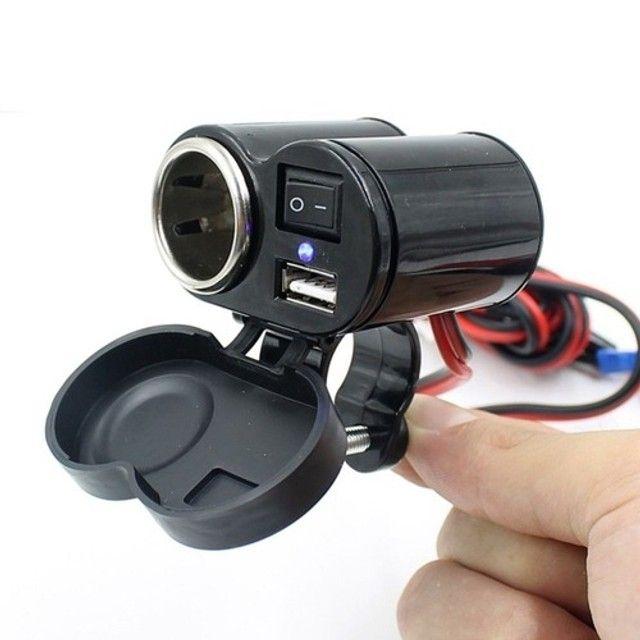 Tomada Moto 12v E 5v Usb P/ Carregador Celular Gps - Foto 2