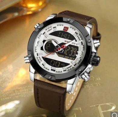 3866e39494e Relógio Naviforce c  pulseira de couro - Analógico e Digital (Aceito Cartão)