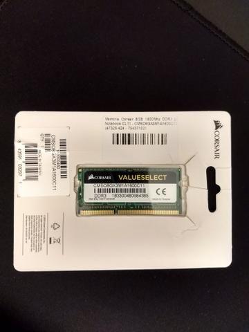 Memória Corsair 8GB 1600Mhz DDR3 p/ Notebook CL11 - CMSO8GX3M1A1600C11