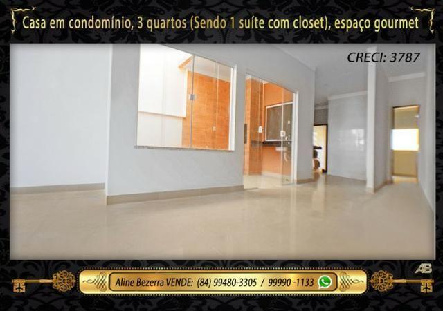 Casa no condomínio central park, suíte com closet, espaço gourmet, sombra confira - Foto 3