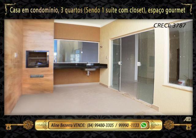 Casa no condomínio central park, suíte com closet, espaço gourmet, sombra confira - Foto 7