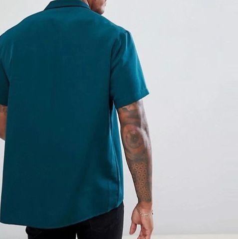 Camisa De Botão Masculina Shein - Verde Água - Tamanho GG - Foto 3