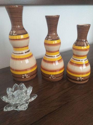 Trio de vasos garrafas em cerâmica  - Foto 3