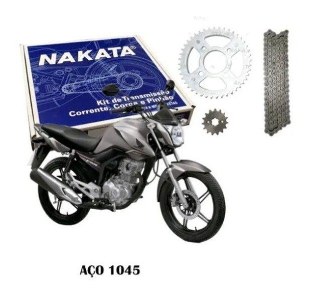 Kit Relação Transmissão Nakata Aço 1045 para a Honda Cg Fan Titan 160 - Foto 2
