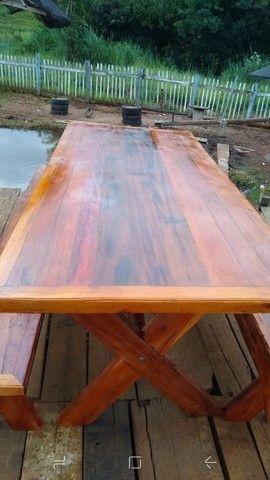 Mesa com bancos ou 8 banquetas madeira demolição peroba rosa a pronta entrega  - Foto 3