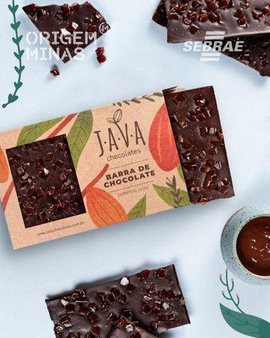 Barra de Chocolate 70% cacau, com Caramelo e Flor de Sal - 400 g | Java Chocolates