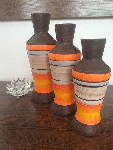 Trio de vasos garrafas em cerâmica  - Foto 4