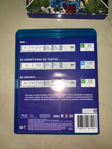 DVD Blu-ray 3D Rio, Os Smurfs e As Aventuras de Tintim - Foto 4