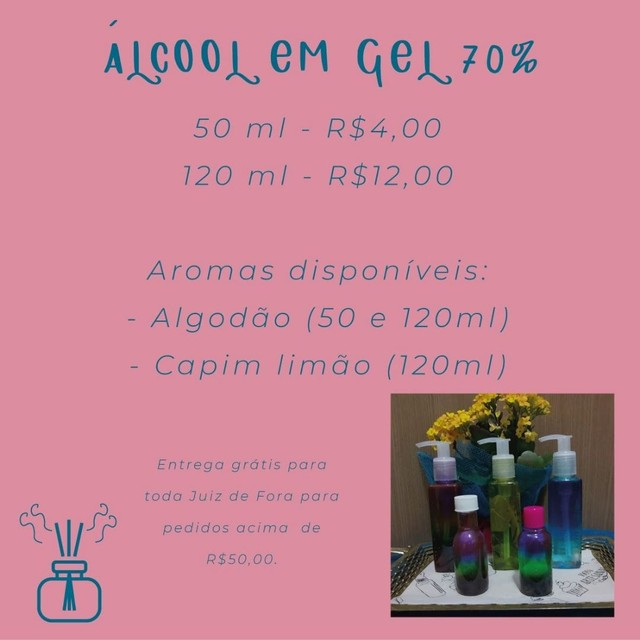 Álcool em gel 70% aromatizado