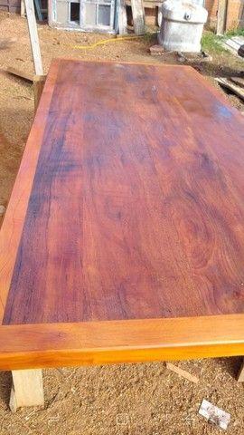 Mesa com bancos ou 8 banquetas madeira demolição peroba rosa a pronta entrega  - Foto 2