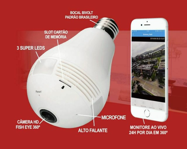 Super câmera lâmpada inteligente 3D 360° - Foto 3