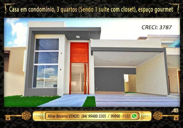 Casa no condomínio central park, suíte com closet, espaço gourmet, sombra confira