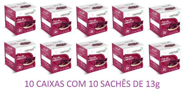 Chá Hibisco Vemat - (caixa C/ 10 Un. C/ 10 Sachês) - Foto 3