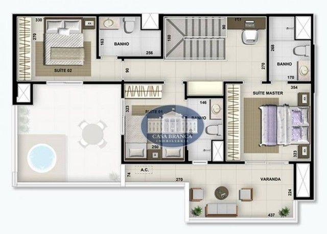 Cobertura Duplex - 3 suítes à venda, 171 m² por R$ 826.200 - Parque das Paineiras - Birigü - Foto 15