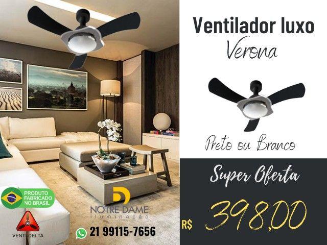 Ventilador de Teto Verona Luxo Preto ou Branco - Controle Remoto Opcional