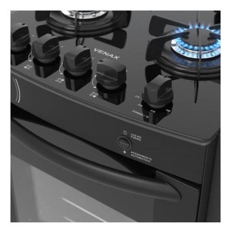Fogão de Embutir VENAX Gaudi Prisma 4 bocas preto bivolt - Foto 2