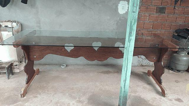 Mesa de madeira e vidro - Foto 5