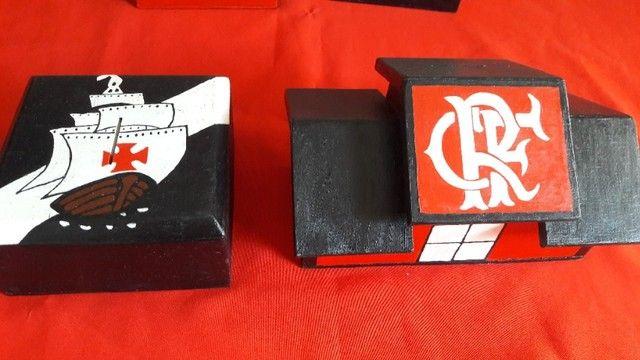 Cofres De Times Flamengo e Vasco de Madeira - Foto 3