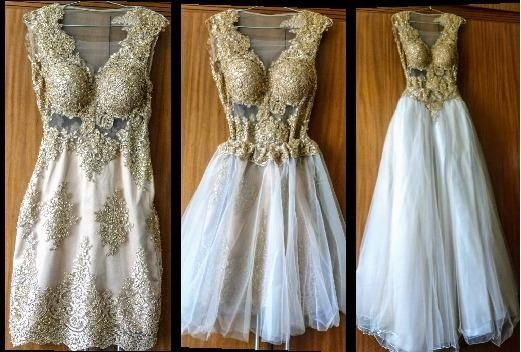 c10cade86 Vestido de 15 anos dourado, 3 em 1, de renda bordada com 2 saias em organza  seda off White