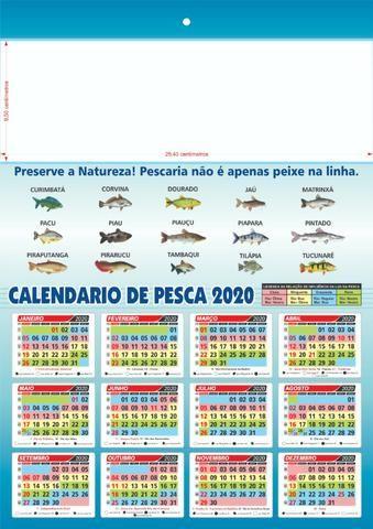 Calendario De Pesca.200 Calendario Folhinha Pesca 29x41