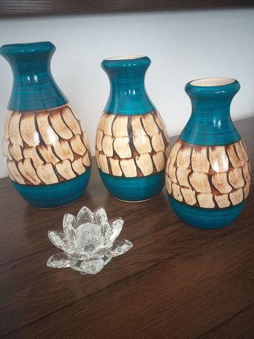 Trio de vasos ( garrafas) em cerâmica  - Foto 2