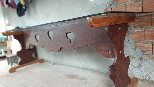 Mesa de madeira e vidro - Foto 2
