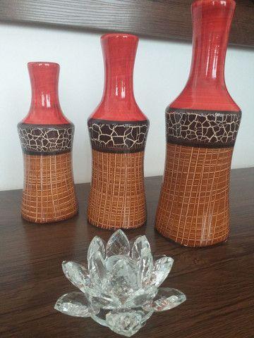 Trio de vasos ( garrafas) em cerâmica  - Foto 6