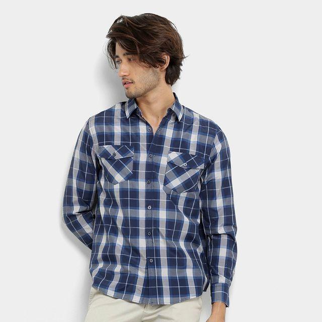 Camisa Xadrez Masculina - Azul / Cinza - Tamanho G