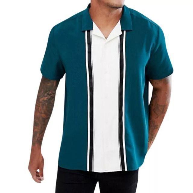Camisa De Botão Masculina Shein - Verde Água - Tamanho GG