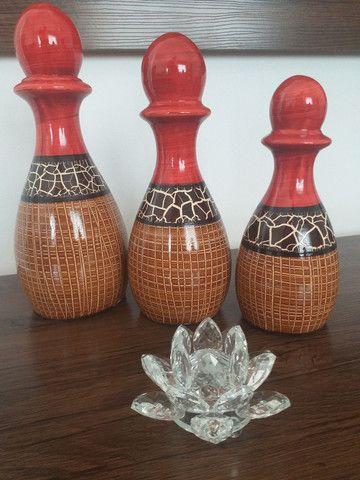 Trio de vasos garrafas em cerâmica  - Foto 6