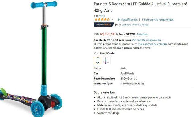 Patinete 3 Rodas com LED Guidão Ajustável Suporta até 40Kg, Atrio