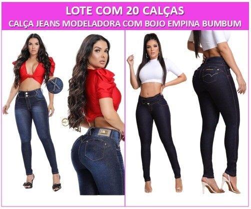 Lote 20 Calças Jeans Modeladora com Bojo levanta bumbum