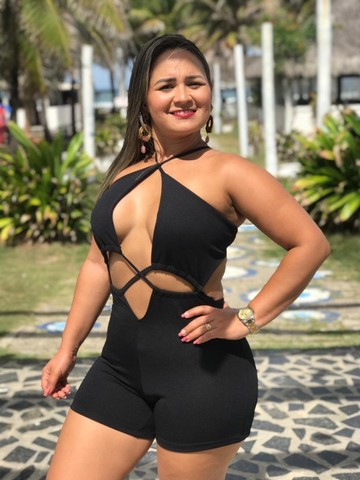 Macaquinho justo Feminino   Com 2 formas de usar   Tecido Crepe Dior   Macacão Feminino - Foto 3
