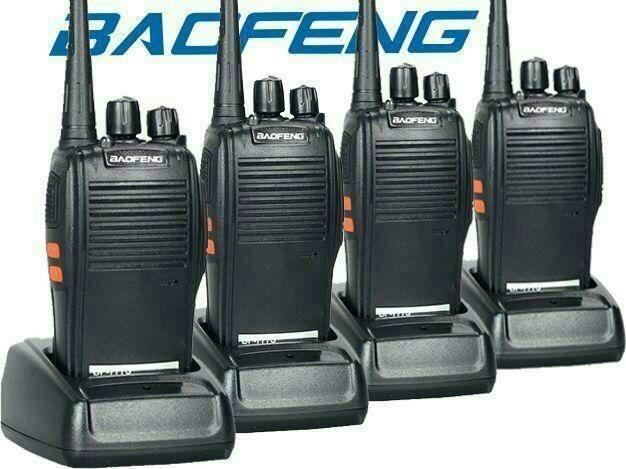 Lote com 4 Rádios Baofeng de Comunicação Uhf/Vhf 16 Canais Rádio Amador