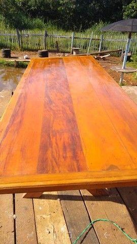 Mesa com bancos ou 8 banquetas madeira demolição peroba rosa a pronta entrega