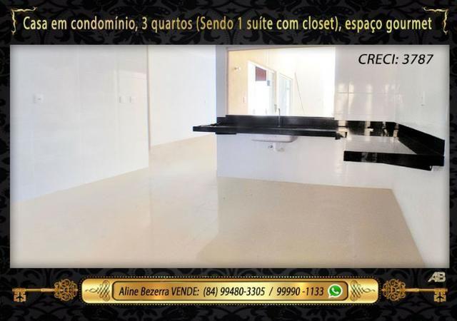 Casa no condomínio central park, suíte com closet, espaço gourmet, sombra confira - Foto 9