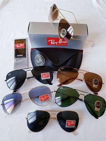 8c0567c14 Óculos Rayban Aviador e Caçador 1 linha com Proteção UV 400 na Caixa ...