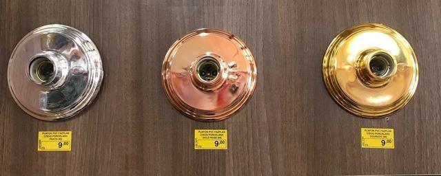 Plafon Metalizado com soquete de Porcelana - Foto 3