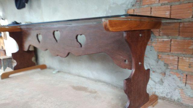 Mesa de madeira e vidro - Foto 3