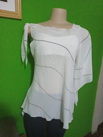 Blusa em Crepe Branca - Tamanho M