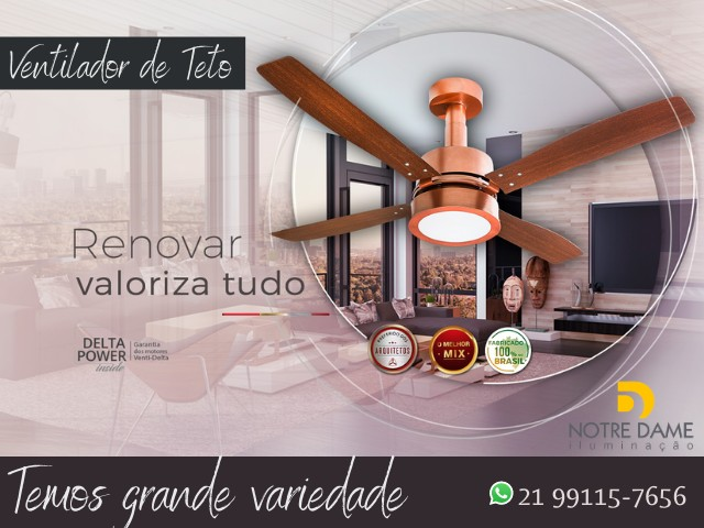 Ventilador de Teto Verona Luxo Preto ou Branco - Controle Remoto Opcional - Foto 4