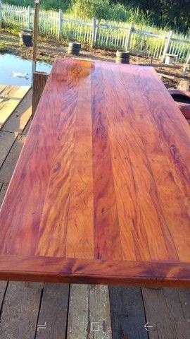 Mesa com bancos ou 8 banquetas madeira demolição peroba rosa a pronta entrega  - Foto 5