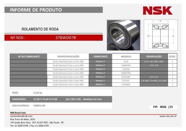 Rolamento 37BWD07B NSK