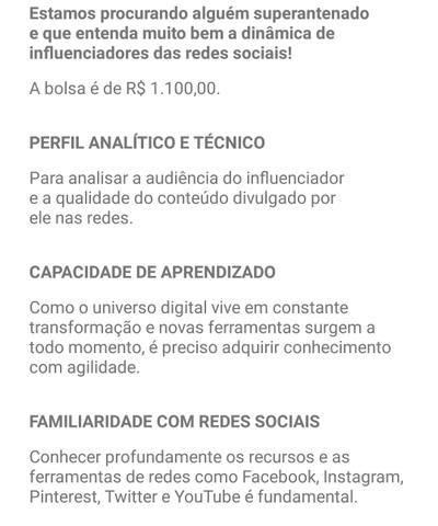 Vaga de estágio de Marketing de Influência - RJ