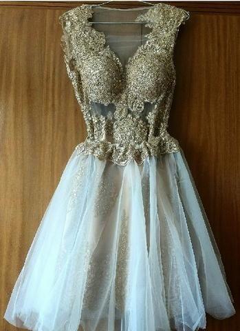 e1be8a43d Vestido de 15 anos dourado, 3 em 1, de renda bordada com 2 saias em organza  seda off White