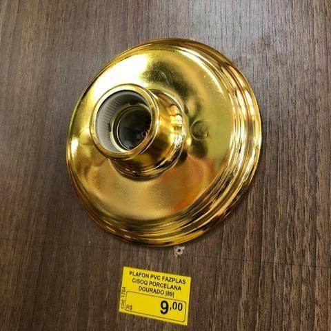 Plafon Metalizado com soquete de Porcelana - Foto 2