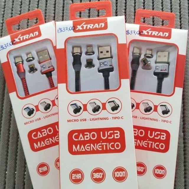 Cabo USB Magnético V8, iphone e tipo C